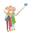 Intellegent modern elderly women using mobile vector image