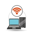 internet laptop data server vector image vector image