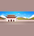 korea palace over mountains landscape south korean vector image vector image