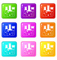 laboratory flasks icons 9 set vector image vector image