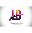 ld l d purple letter logo with swoosh design vector image vector image
