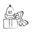 little bird in giftbox vector image