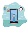 man practicing online yoga for quarantine vector image vector image
