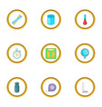 measuring equipment icons set cartoon style vector image vector image