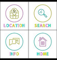 object location information retrieval icons set vector image