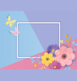 paper cut flowers greeting card template floral vector image vector image