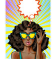 pop art african american woman in yellow vector image