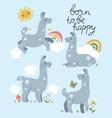 postcard with cute lamas and inscription born vector image