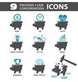 Preserve Save Icons vector image vector image