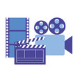 production movie film projector clapperboard strip vector image