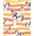 seamless pattern with joyful dog with open mouth vector image