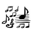 set hand drawn music note doodle grunge sketch vector image