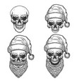 set of santa claus skulls on white background vector image vector image