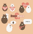 set of valentine bears for your design vector image
