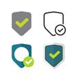 shield icons set symbols flat cartoon vector image