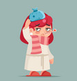 sick ill girl cold virus flu disease female vector image vector image