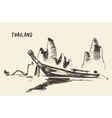 sketch traditional longtail boat thailand vector image