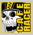 skull helmet cafe racerhand drawing vector image