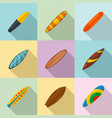 surf board icons set flat style vector image vector image