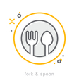 Thin line icons fork spoon vector image