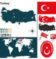 Turkey map world vector image vector image