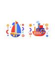 water transport set yacht passenger cruise ship vector image