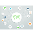 World Map 3d Circle Links With Clean Energy Icons vector image