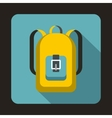 Yellow backpack icon in flat style vector image vector image