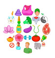 yoga icons set cartoon style vector image vector image