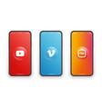 youtube vimeo igtv logo on iphone screen vector image vector image