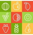 Fruits in Line Art Style Set vector image