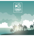 poster sky landscape of palm trees on the beach vector image