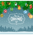 Fir Branches Toys And Balls vector image