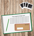 notebook on wood background vector image