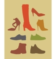 Silhouettes of different footwear tipes vector image