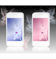 Two white mobile phones with ladybird on abstract vector image