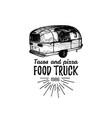 vintage mexican food truck logo tacos icon vector image