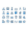 05 blue school education icons set vector image vector image