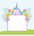 banner with cute unicorn vector image vector image