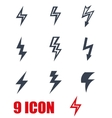 black lightning icon set vector image vector image