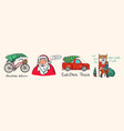 car and bicycle with a christmas tree spruce iand vector image vector image