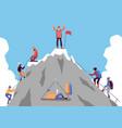 cartoon people climbing mountain and happy man vector image