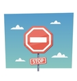 Cartoon red stop sign objects in flat vector image