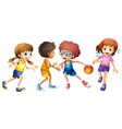 children playing basketball on white background vector image