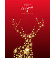 christmas and new year golden star deer card vector image vector image