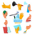 colored symbols for cleaning service hands vector image vector image
