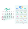 colorful planner 2018 april separately vector image vector image