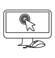 computer with mouse and cursor vector image vector image