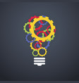 creative technology concept color gears light bulb vector image