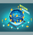 crypto currency mining isometric composition vector image vector image